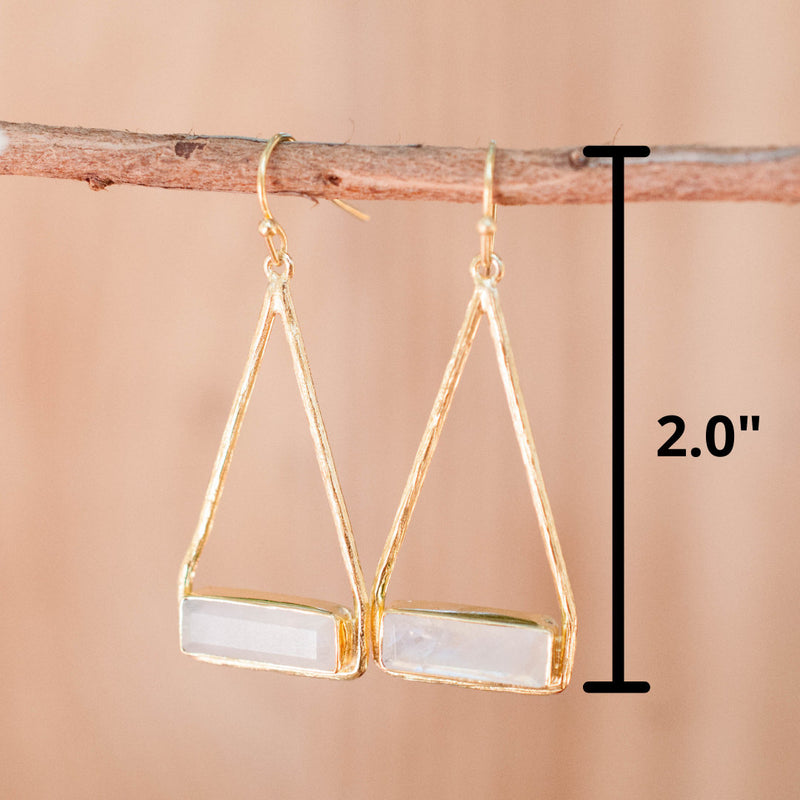 Moonstone Earrings Gold Plated 18k or Silver Plated * Dangle * Gemstone * Natural * Lightweight * Triangulum * Geometric * ByCila* BJE001A