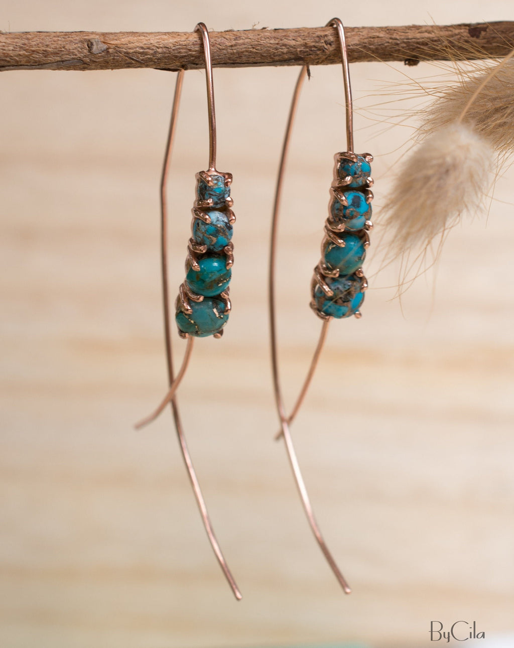 Aja Earrings * Copper Turquoise * Sterling Silver, Rose Gold or Gold Vermeil * BJE042C