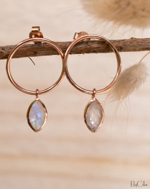 Agatha Earrings * Moonstone * Rose Gold Plated or Gold Plated 18k * BJE080C