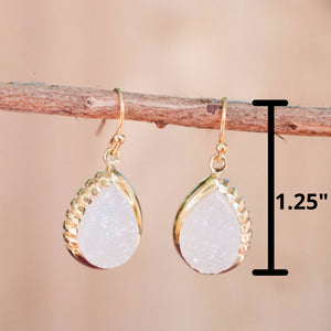 Moonstone Earrings Dangle Gold Plated 18k* Gemstone * Statement  * handmade * Every day * Lightweight * bohemian * BJE012