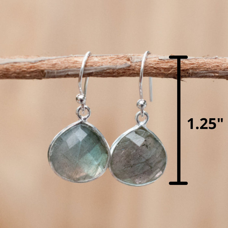 Labradorite Earrings * Sterling Silver 925 * Dangle  *Handmade *Semi Precious Stone * Gift *February Birthstone*  BJE038