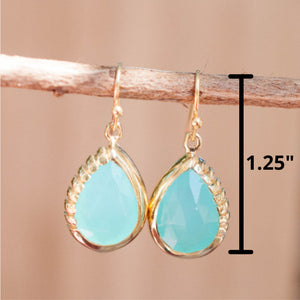 Aqua Chalcedony Earrings Dangle Gold Plated 18k  * Gemstone * Statement * handmade* Every day * Lightweight* bohemian  * ByCila *BJE009