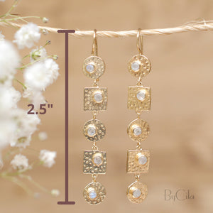 White Topaz Earrings Gold Plated 18k * Dangle * Gemstone * Hammered* Statement  * Every day * ByCila * Boho * Bohemian *Gift * BJE075