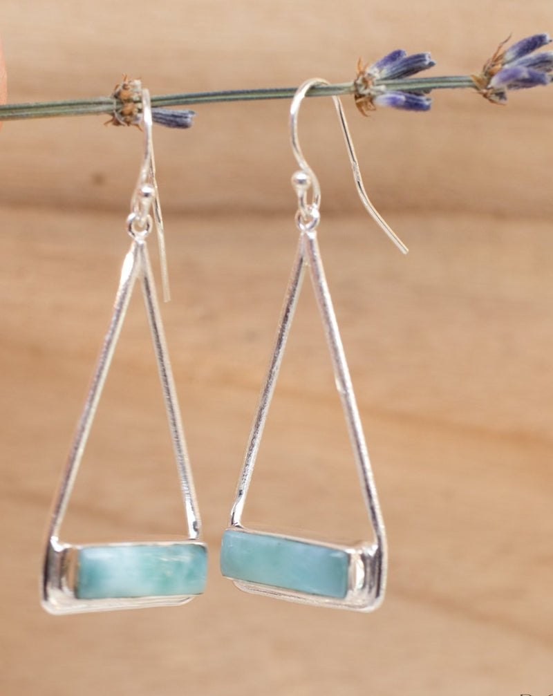 Marina Earrings * Larimar * Gold Plated 18k or Silver Plated * BJE008B