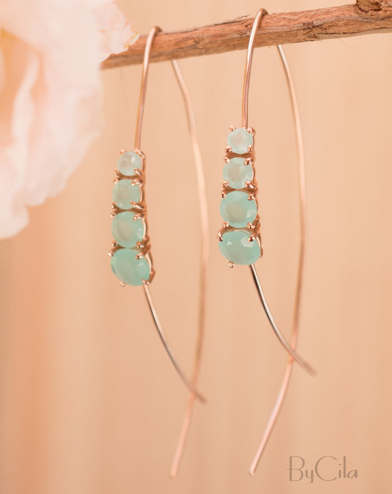 Aja Earrings * Aqua Chalcedony * Gold Vermeil or Rose Gold Vermeil * BJE045C