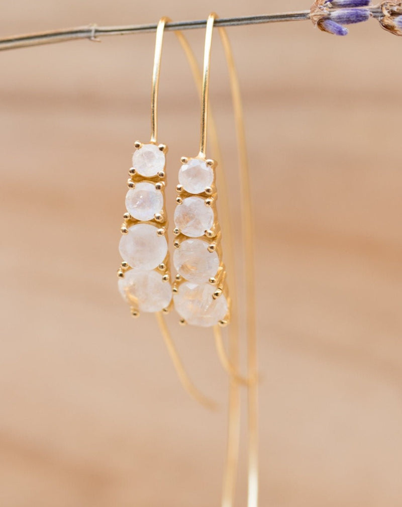 Aja Earrings * Moonstone * Rose Gold, Gold Vermeil or Sterling Silver * BJE043A