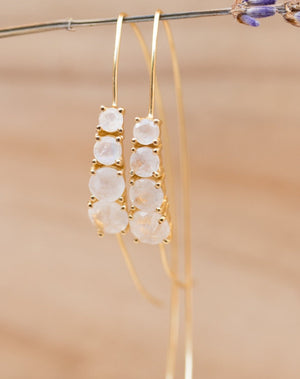 Aja Earrings * Moonstone * Rose Gold, Gold Vermeil or Sterling Silver * BJE043C