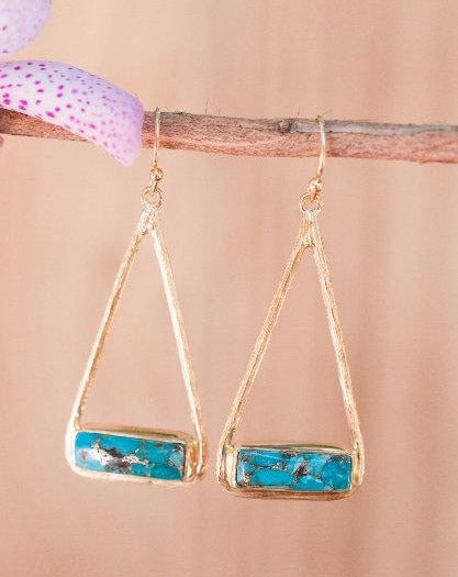 Marina Earrings * Copper Turquoise * Gold Plated 18k or Silver Plated * BJE002B