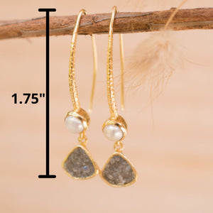 Labradorite & Pearl Gold Earrings * V shape * Handmade * Gemstone  * Gold *Modern * Gold Plated 18k * ByCila BJE130