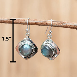 Labradorite Earrings * Sterling Silver 925 * Gemstone * Dangle *Jewelry *Handmade *Bycila *Valentine's Gift *Statement *Boho*Bohemian BJE037