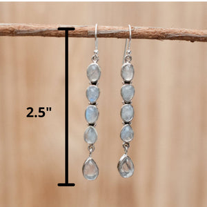 Moonstone Earrings Sterling Silver 925 * Gemstone * Statement *Handmade *Dangle *Lightweight *Gift For Her *Jewelry *June Birthstone BJE025