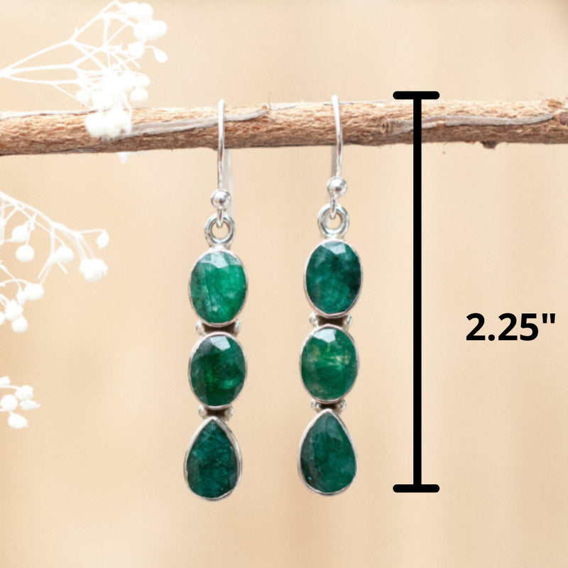 Emerald Earrings Sterling Silver 925* Gemstone * Statement * Handmade * Dangle *Lightweight *Gift For Her *Jewelry *May Birthstone * BJE024