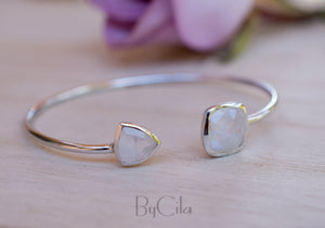 Moonstone Bangle Bracelet *Gold Plated 18k or Silver Plated* Gemstone * Gypsy * Hippie *  Adjustable * Statement *  Stacking * BJB002B