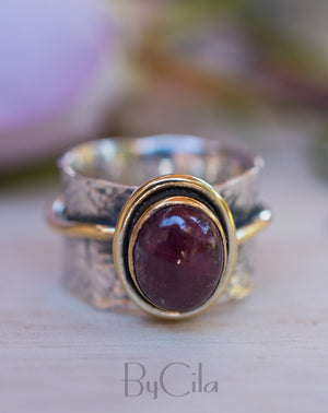 Ruby ring * Sterling silver ring * Gold Vermeil ring * Wide ring * Handmade ring * Wave band ring * Gemstone* Green Stone BJR206