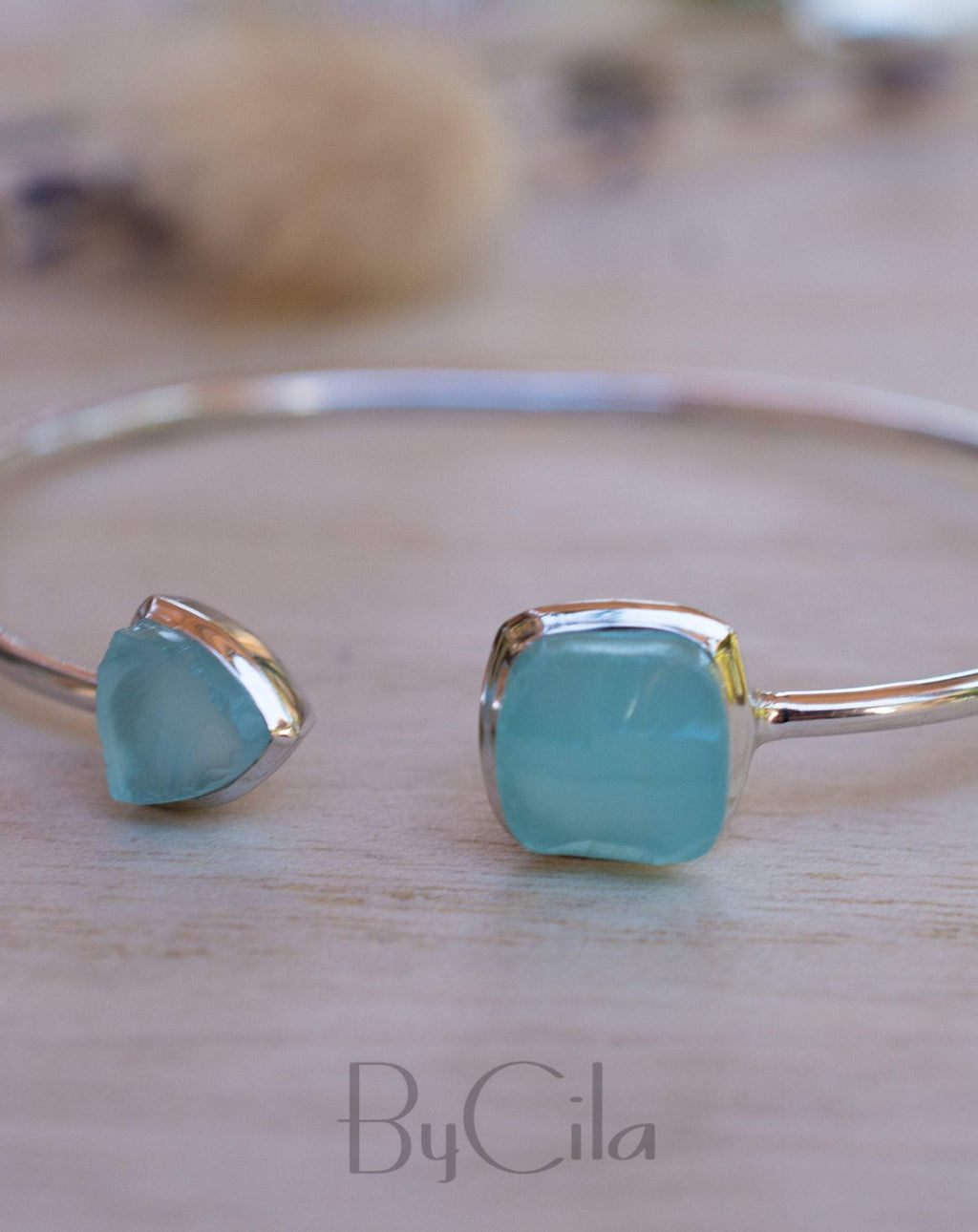 Rough Aqua Chalcedony Bangle Bracelet * Gold Plated 18k or Silver Plated* Gemstone * Adjustable * Statement * Stacking * Raw * BJB008A