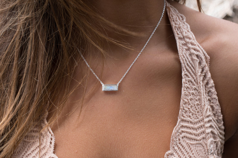 Moonstone Rectangle Bar Necklace * Gold Vermeil or Sterling Silver 925 * Handmade * Layered * Gemstone * Gift for Her * Elegant * BJN027A