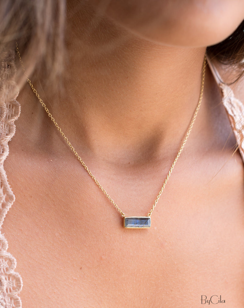 Labradorite Rectangle Bar Necklace * Gold Vermeil or Sterling Silver 925 * Handmade * Layered * Gemstone * Gift for Her * Elegant * BJN028A