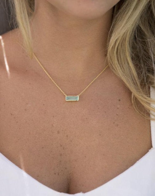 Clara Rectangle Necklace * Aqua Chalcedony * Gold Vermeil or Sterling Silver 925 * BJN029A