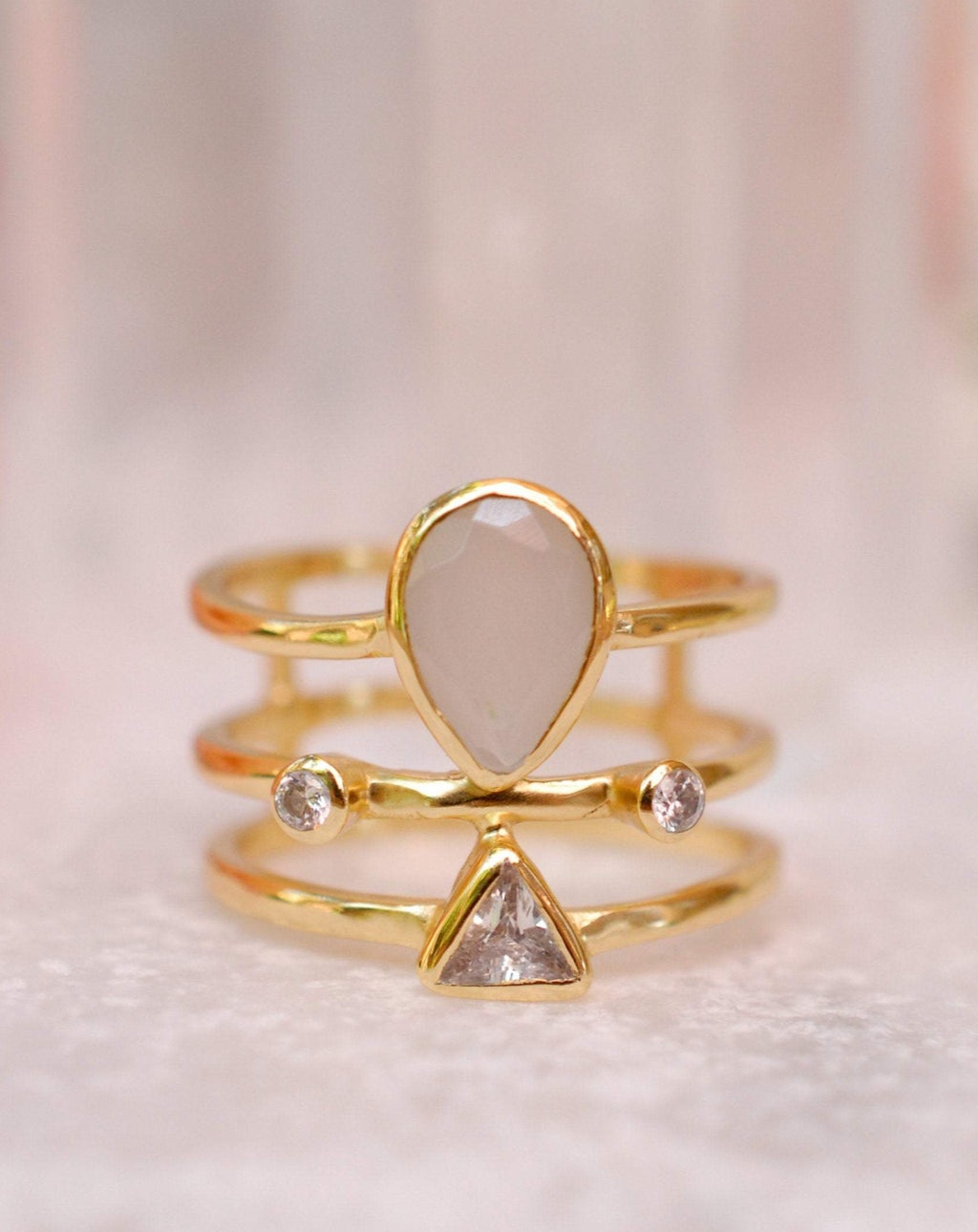 Moonstone & White Topaz Ring * Gold Plated Ring * Statement Ring *Gemstone Ring * Rainbow * Bridal Ring *Wedding Ring  * BJR118
