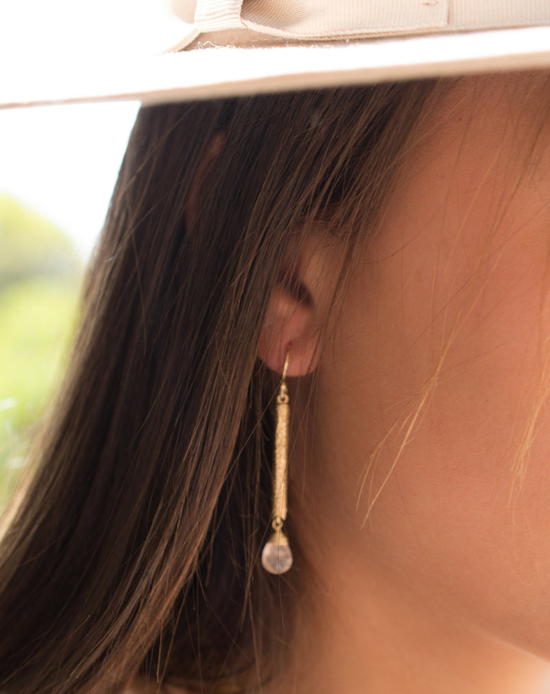 Catarina Earrings * Rose Quartz * Gold Plated 18k * BJE135