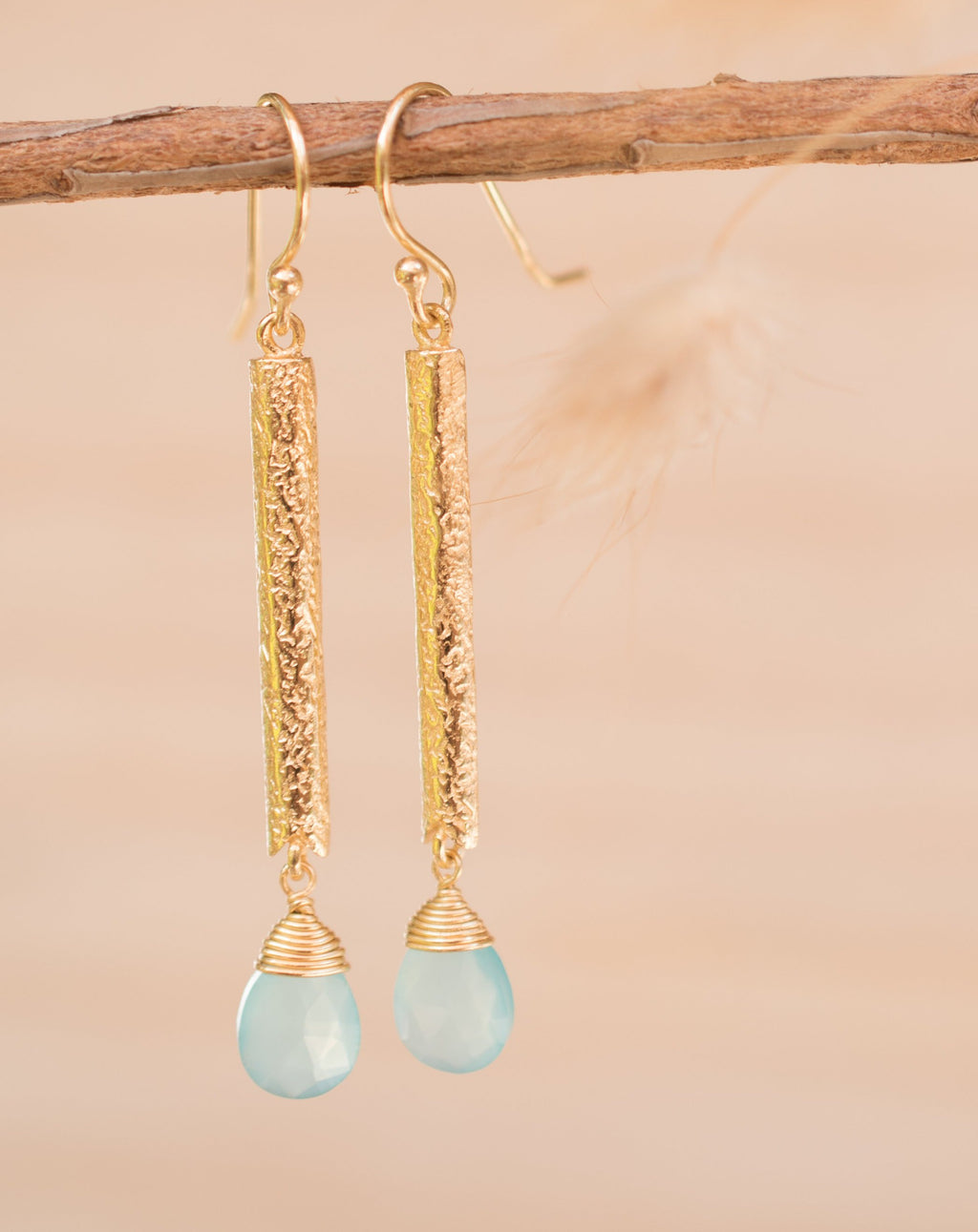Catarina Earrings * Aqua Chalcedony * Gold Plated 18k * BJE134