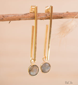 Labradorite Earrings Stud Gold Plated 18k *Post * Gemstone * Statement * handmade * Every day * Lightweight * bohemian * ByCila  * BJE140