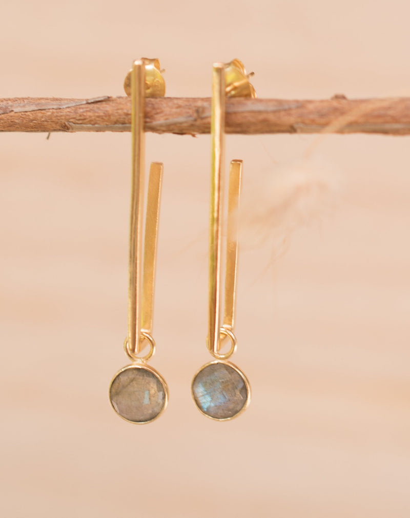 Lorena Earrings * Labradorite * Gold Plated 18k * BJE140
