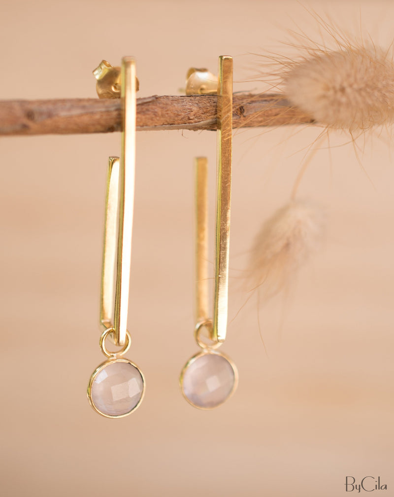 Lorena Earrings * Rose Quartz * Gold Plated 18k * BJE141