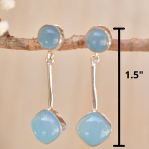 Blue Chalcedony Stud Earrings * Sterling Silver 925 * Post  *Handmade *Semi Precious Stone * Gift *Birthstone*  BJE154