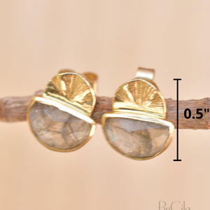 Labradorite Earrings Stud Gold Plated 18k *Post * Gemstone * Statement * handmade * Every day * Lightweight * bohemian * ByCila  * BJE157