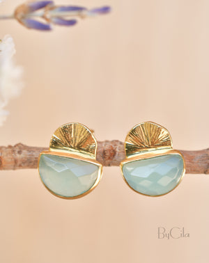 Aqua Chalcedony Earrings Stud Gold Plated 18k  * Post *Gemstone * Statement * handmade* Everyday * Lightweight* bohemian  * ByCila *BJE159