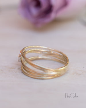 14K Yellow Gold Diamond Ring * Matte * Diamond * Engagement Ring * Unique * Organic * Boho chic * Diamond Ring *Modern *Gold Band BJRG002