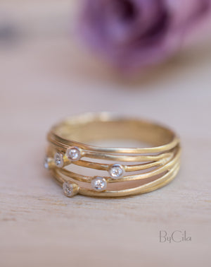 14K Yellow Gold Diamond Ring * Matte * Diamond * Engagement Ring * Unique * Organic * Boho chic * Diamond Ring *Modern *Gold Band BJRG003