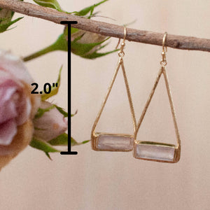 Rose Quartz Earrings Gold Plated 18k or Silver Plated * Dangle * Gemstone * Natural * Lightweight * Triangulum * Geometric * ByCila* BJE004A