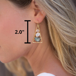 Rose Quartz, Moonstone & Labradorite Triangle Earrings 18k Gold Plated * Gemstone * Earrings* Dangle * Drop  * Handmade * Boho * BJE096