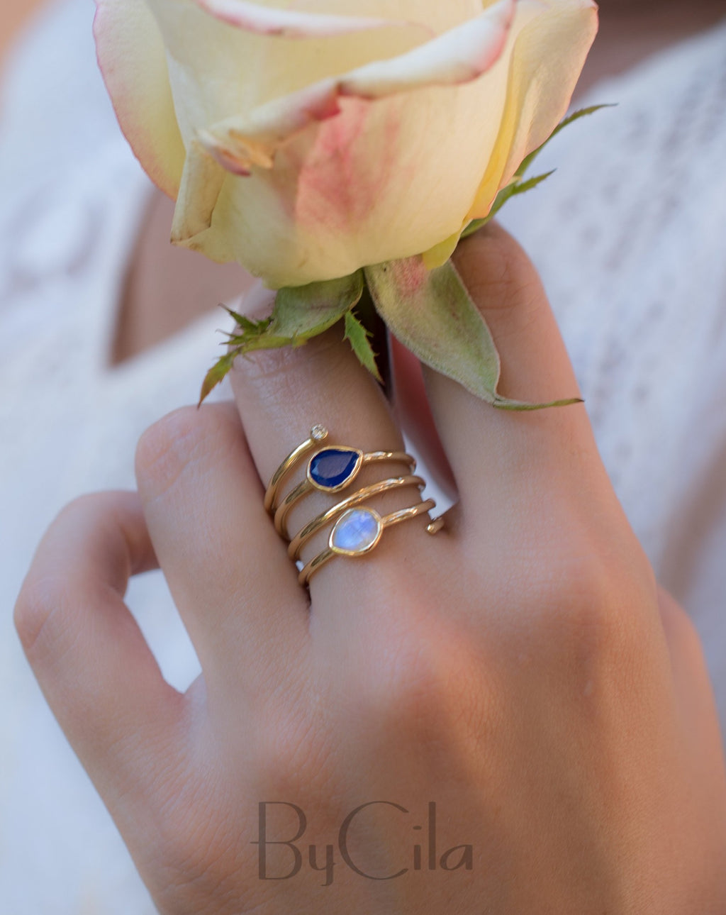 Lapis Lazuli & Moonstone Gold Plated 18k Ring * Blue stone* Gemstones * Handmade *Statement *Gift for her *Spiral Ring Jewelry*Bycila*BJR059