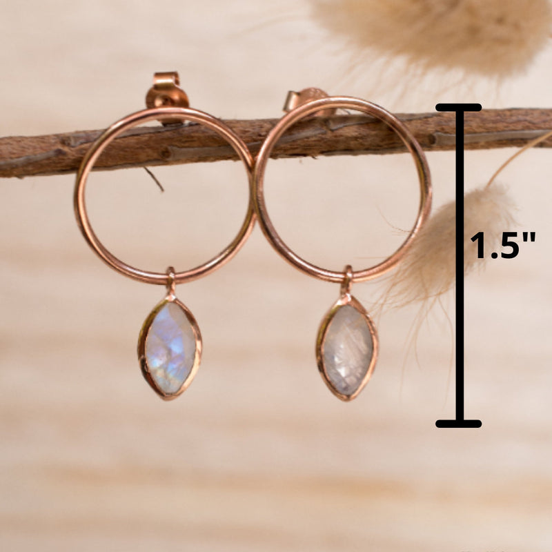 Moonstone Stud Earrings Rose Gold Plated or Gold Plated 18k* Gemstone * Earrings * Rainbow Moonstone * Handmade * Boho * Modern * BJE080C