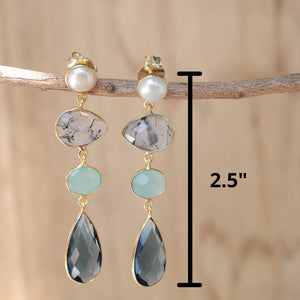 Pearl, Black Tourmaline Quartz, Aqua Chalcedony & Iolite hydro Earrings Gold Plated 18k  * Multi-stones * Gold * Handmade Gemstone * BJE088