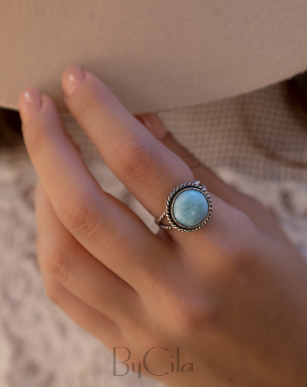 Round Larimar Ring * Sterling Silver 925 * Gemstone * Blue * Natural * Statement * Handmade*Semi Precious Stone*Bohemian*Chic * Boho*BJR237