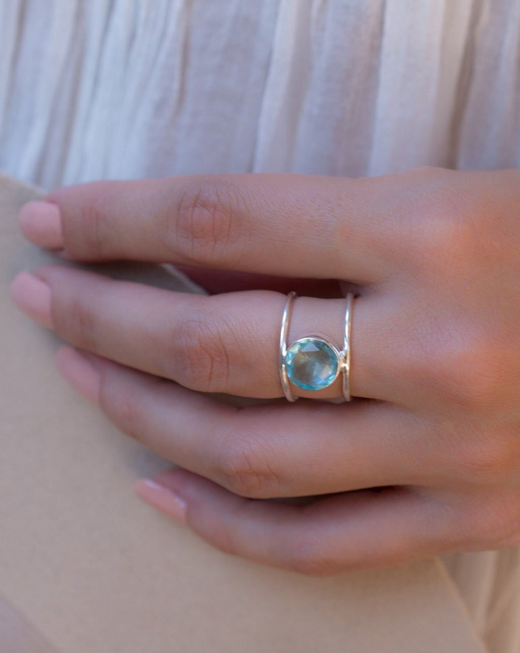SALE Blue Topaz Ring * Sterling Silver Ring* Statement Ring *Gemstone Ring * Blue* Bridal Ring *Wedding Ring * Organic Ring * Natural*BJR020