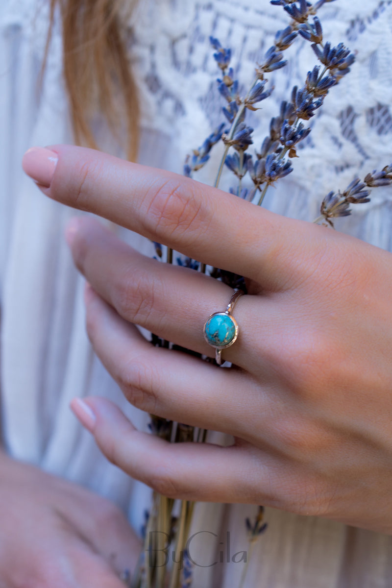 Turquoise Ring* Silver Ring * Boho Ring* Blue Ring * Gypsy Ring * Handmade * Hippie * Sterling Silver Ring * Copper Turquoise Jewelry BJR064
