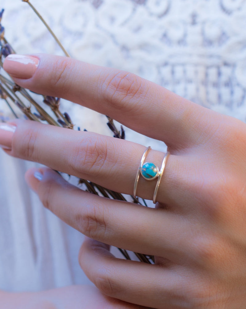 Turquoise Ring * Sterling Silver 925* Statement * Gemstone * Copper Turquoise * Organic * Ocean * Blue * Natural* Handmade* Thin Band BJR033