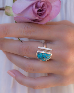 Copper Turquoise Ring * Adjustable Sterling Silver * Statement * Gemstone * Bridal * Wedding * Half Moon * Boho * Bohemian * Handmade*BJR115