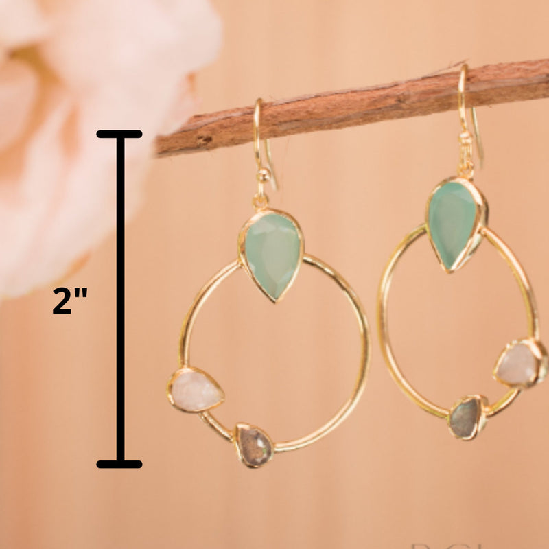 Aqua Chalcedony, Labradorite & Moonstone Dangle  Earrings Gold Plated * Gemstone * Earrings  * Handmade * Boho * Modern * Dangle * BJE121