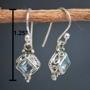 Blue Topaz Earrings Sterling Silver 925 * Diamond Shape Earrings * Ocean * ByCila * December Birthstone Earrings* Boho * BJE030