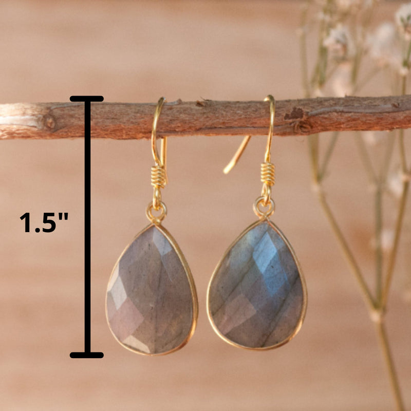 Labradorite Gold Vermeil Dangle Earrings * Earrings * Handmade Earrings * semi precious stone *Blue * bohemian * Boho chic * ByCila * BJE059