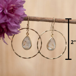 Rutilated Quartz Earrings * Gold * Statement * Gemstone * July * August Birthstone * Leo * Jewelry * Gift for Her * Round * Dangle * BJE033