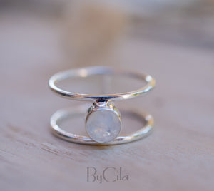 Moonstone Ring *  Sterling Silver* Double band * Statement* Gemstone *Bridesmaid *Natural* Handmade *Gift For Her *BJR031