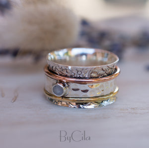 Moonstone Spinner Ring *Meditation *Spinning * Spin *Anxiety *Sterling Silver 925 *Copper *Bronze * Jewelry * Bycila * Handmade *Yoga BJS024