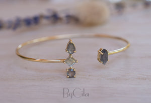 Labradorite Bangle Bracelet * Gold Plated 18K or Rose Gold * Gemstone * Gypsy * Hippie *  Adjustable * Statement *  Stacking * BJB011C